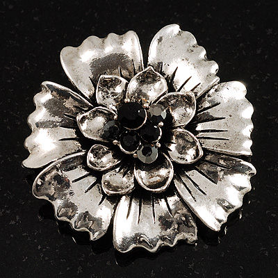 Vintage Dimensional Floral Brooch (Antique Silver Tone) - main view