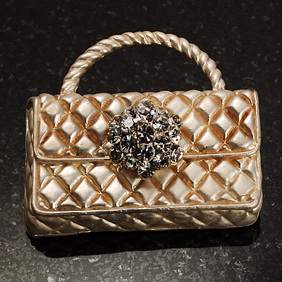 Stylish Crystal Bag Brooch (White Cream)