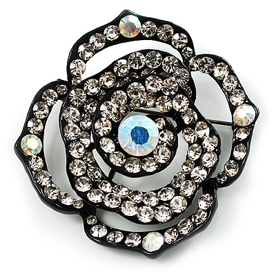 Black Tone Crystal Rose Brooch
