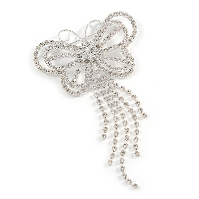 Striking Diamante Butterfly With Dangling Tail Brooch - main view