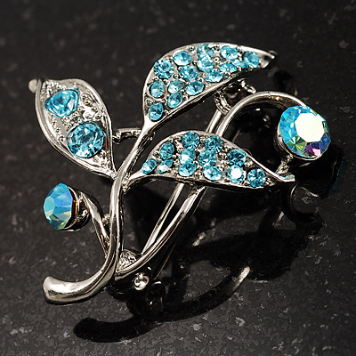 Small Crystal Floral Brooch (Silver&Sky Blue)