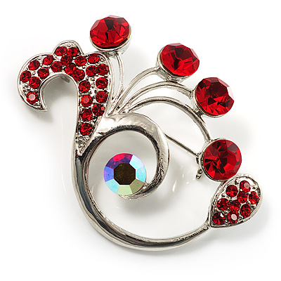 Fancy Red Crystal Brooch (Silver Tone) - avalaya.com :  diamante cocktail party crystal jewelery