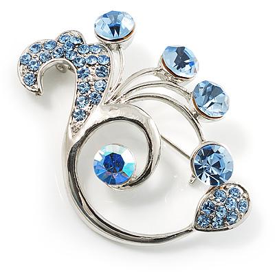 Fancy Sky Blue Crystal Brooch
