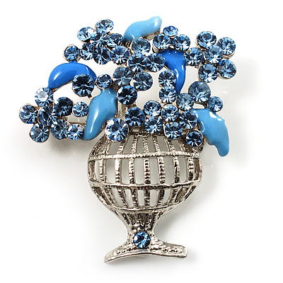 Blue Crystal Flower Basket Brooch - main view