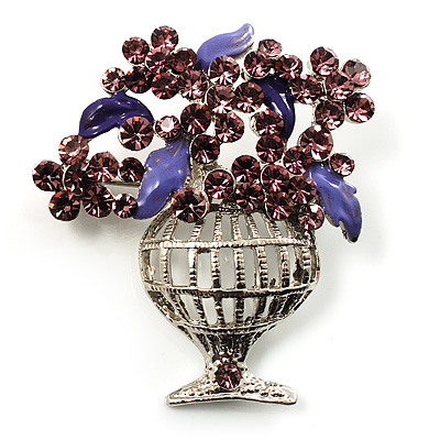 Purple Crystal Flower Basket Brooch