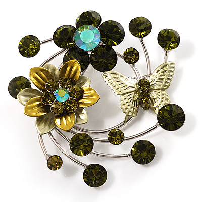 Fancy Butterfly And Flower Brooch (Olive Green) - main view