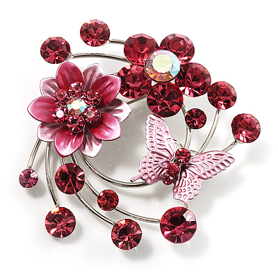 Fancy Butterfly And Flower Brooch (Pink&Magenta) - main view