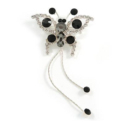 Jet Black Crystal Butterfly With Dangling Tail Brooch