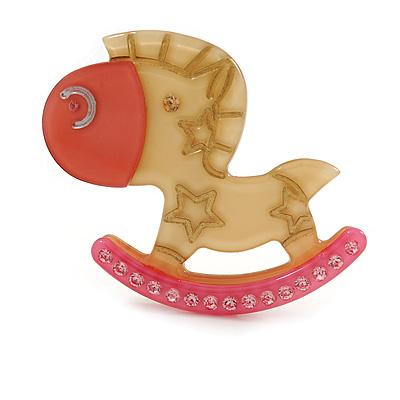 Rocking Horse Plastic Crystal Brooch (Sandy,Pale&Deep Pink) - main view