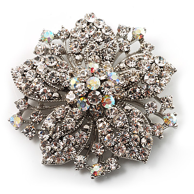 Victorian Corsage Flower Brooch (Silver & Clear Crystals) - main view