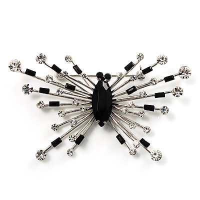 Art Deco Crystal Butterfly Brooch (Silver Tone) - main view