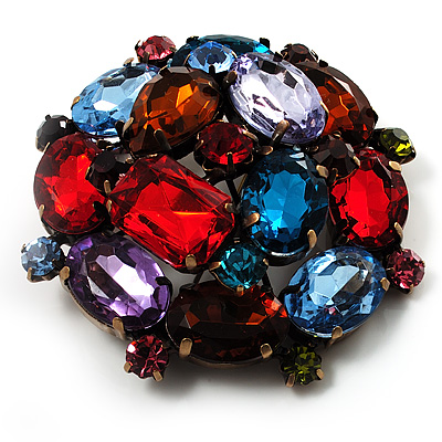 Large Multicoloured Dimensional Corsage Acrylic Brooch (Bronze Tone) - main view