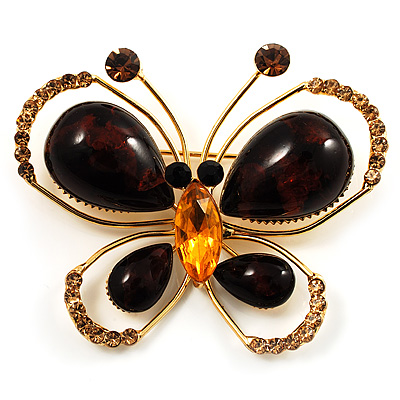 Brown Resin Stone, Citrine Crystal Butterfly Brooch In Gold Tone Metal