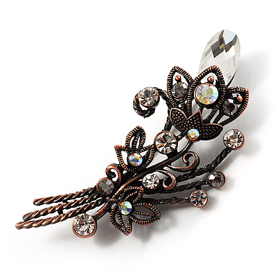 Vintage Floral Brooch (Bronze&Clear)