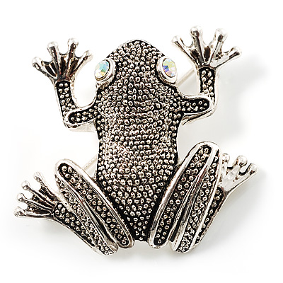 Marcasite Frog Brooch (Antique Silver Tone) - main view