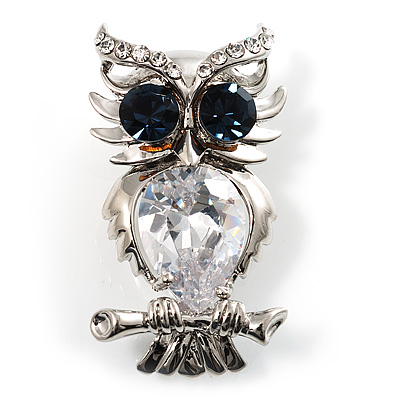 Stunning CZ Owl Brooch (Silver Tone) - main view