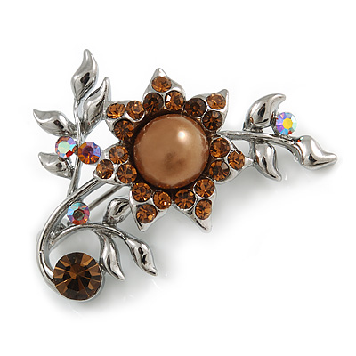 Faux Pearl Floral Brooch (Silver&Chocolate)