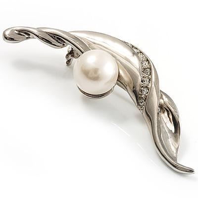 Silver Tone Imitation Pearl Leaf Brooch