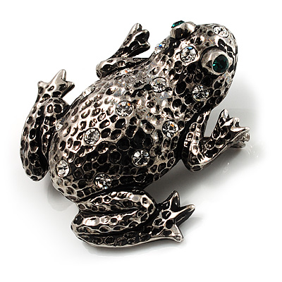 Crystal Toad Brooch (Black Tone)