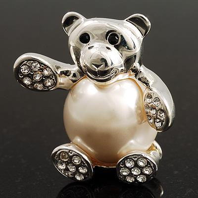 Imitation Pearl Teddy Bear Brooch (Silver Tone)