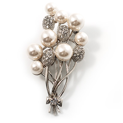 Faux Pearl Floral Brooch (Silver & White) - main view