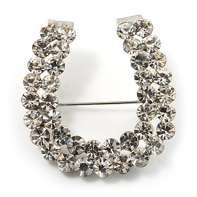 Clear Crystal Lucky Horseshoe Brooch (Silver Tone)