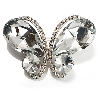 Statement Oversized Clear Crystal Butterfly Brooch (Silver Tone)