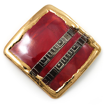 'Red Square' Ethnic Brooch - main view