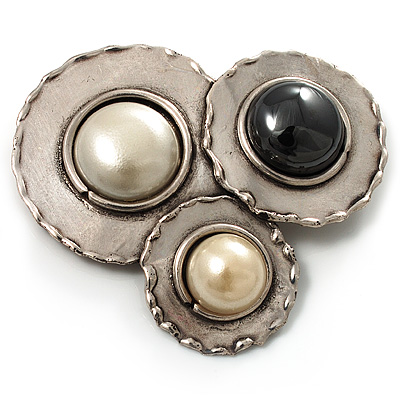 Three Rounds with Black, Light Cream and White Stones Brooch