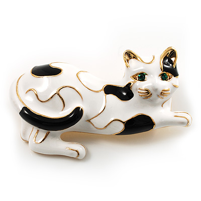 Little Kitty Black And White Enamel Brooch (Gold Tone)