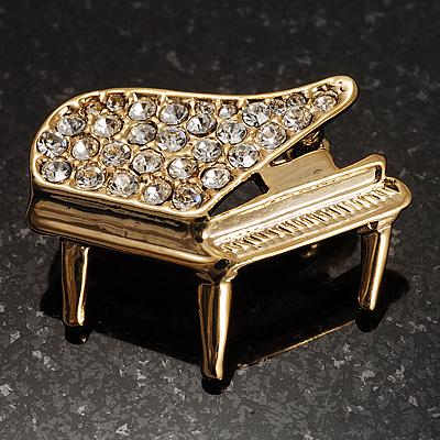 Small gold tone crystal grand piano brooch ebay for Small grand piano
