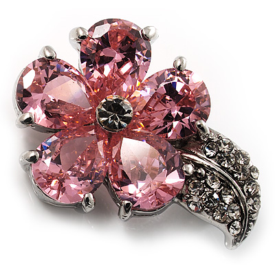 Tiny Pink CZ Flower Pin Brooch - main view