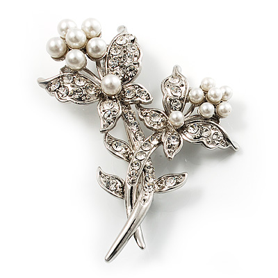 Crystal Faux Pearl Butterfly Brooch (Silver Tone) - 45mm Tall