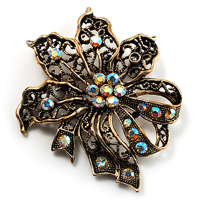 Bronze-Tone Vintage Filigree Floral Brooch - main view