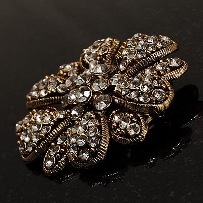 Bronze Tone Metal Avalaya Large Vintage Dimensional Diamante Flower Brooch
