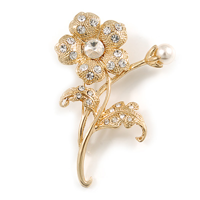 Exquisite Crystal Flower Brooch (Gold Tone) - main view