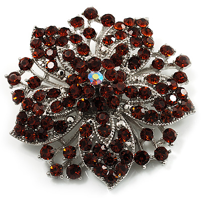 Victorian Corsage Flower Brooch (Silver & Amber Coloured) - main view