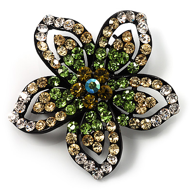 Five Petal Diamante Floral Brooch (Black&Olive Green)