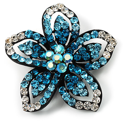 Five Petal Diamante Floral Brooch (Black&Blue)