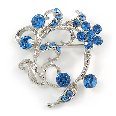 Blue Crystal Floral  Wreath Brooch In silver Tone Metal - 40mm Across