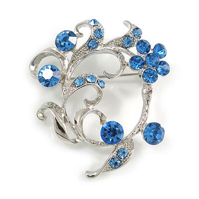 Сornflowerblue Crystal Floral Wreath Brooch In silver Tone Metal - 40mm Across - 40mm Across