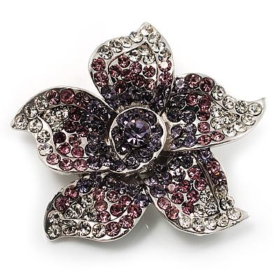 Small Purple Diamante Flower Brooch (Silver Tone)