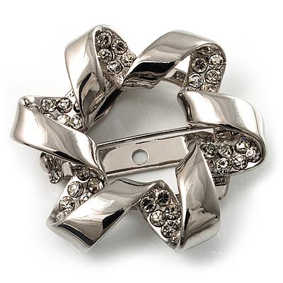 Twirl Crystal Scarf Pin/ Brooch (Silver Tone) - main view