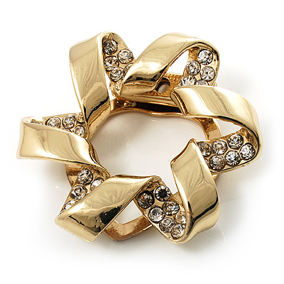 Twirl Crystal Scarf Pin/ Brooch (Gold Tone)