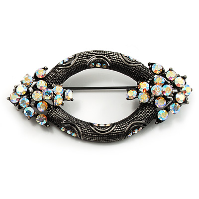 Vintage Open Oval AB Crystal Brooch (Antique Silver Tone)