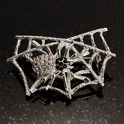 Silver Tone Spider And Web Diamante Brooch