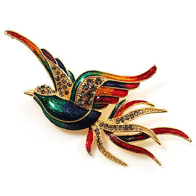 Exotic Multicoloured Flying Fire-Bird Brooch - main view