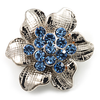 Tiny Blue Crystal Flower Pin Brooch