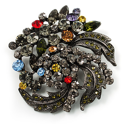Dramatic Diamante Corsage Brooch (Black&Multicoloured)