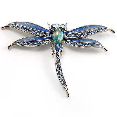 Blue Enamel Dragonfly Brooch - main view